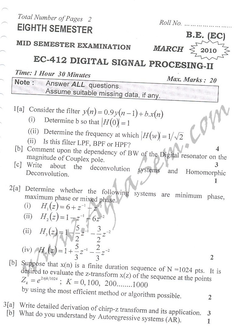 DTU Question Papers 2010 – 8 Semester - Mid Sem - EC-412