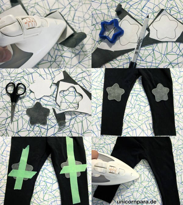 suede patch leggings DIY