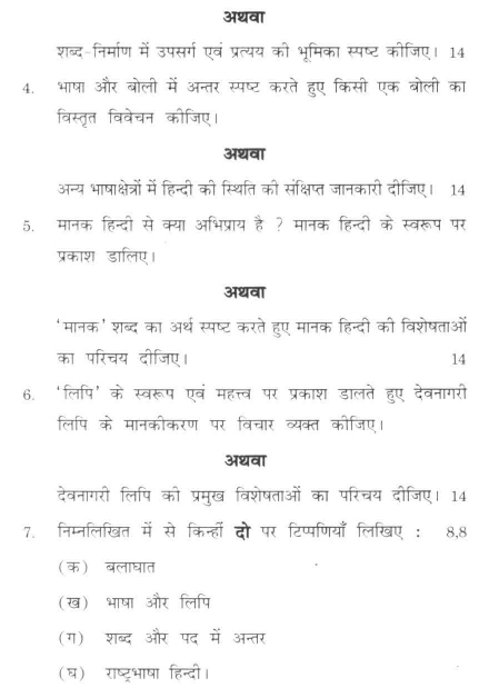 DU SOL B.A. Programme Question Paper - Hindi Discipline (A) - Paper XI