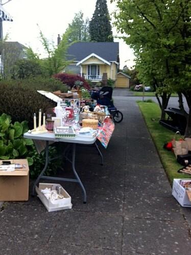 Table at the neighborhood sale