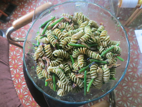 Shiitake and green bean parsley pesto rotini