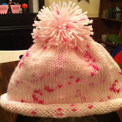 First hat with first pompon!  #knit #hat #pompom