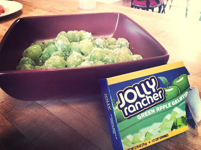 Grapes with jello.