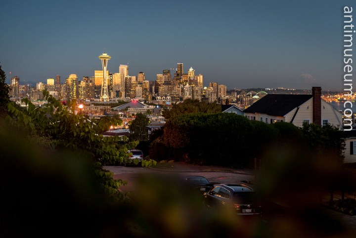 Seattle, Wa USA - The Space Needle and downtown Seattle and Mt Rainier in the Background