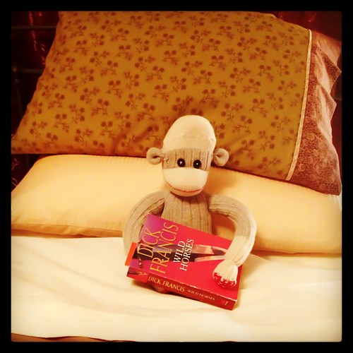 Mar 29 - goodnight #fmsphotoaday #sockmonkey #bedtime #reading #dickfrancis