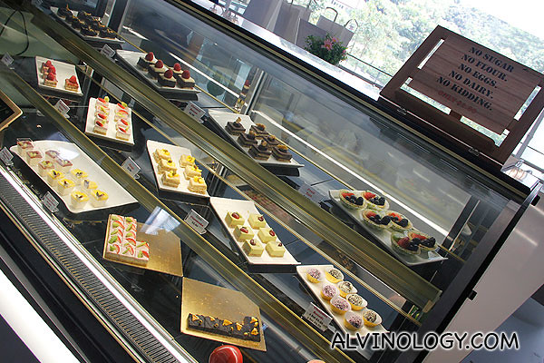 Cakes and pastries section - no sugar, no flour, no eggs, no dairy, all raw and uncooked!