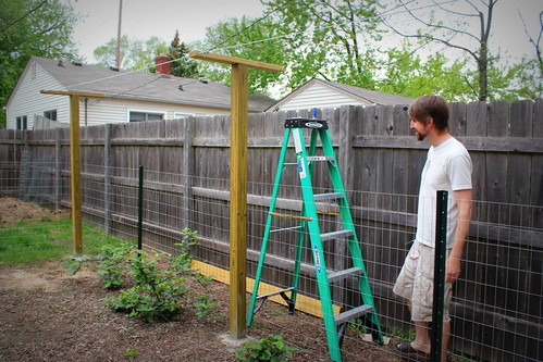 20130504. Chris finishing up the hop trellis.