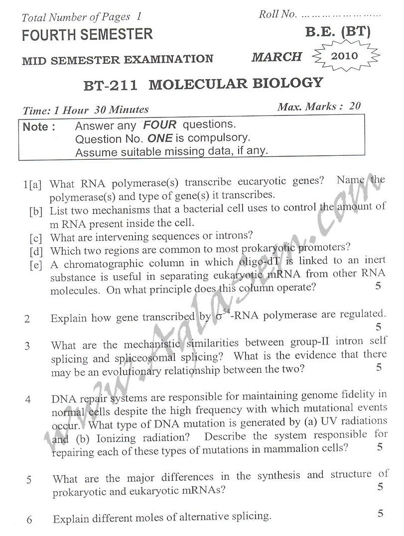 DTU Question Papers 2010 – 4 Semester - Mid Sem - BT-211