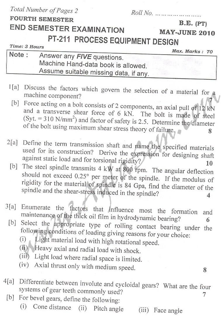 DTU Question Papers 2010 – 4 Semester - End Sem - PT-211