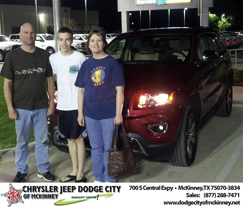 Dodge City of McKinney would like to say Congratulations to Jana Bennett on the 2014 Jeep Grand Cherokee by Dodge City McKinney Texas