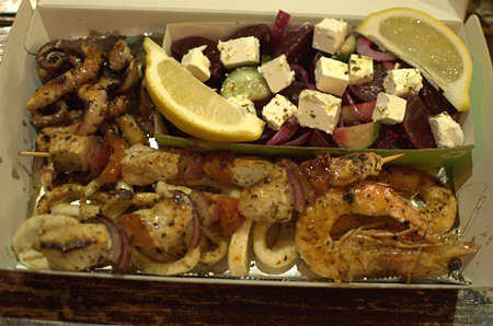 BBQ box, beetroot & feta salad