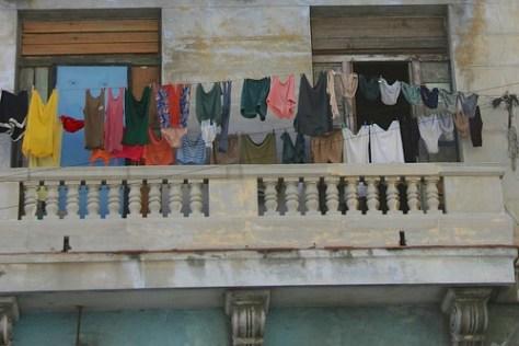 Bright washing in run-down Havana