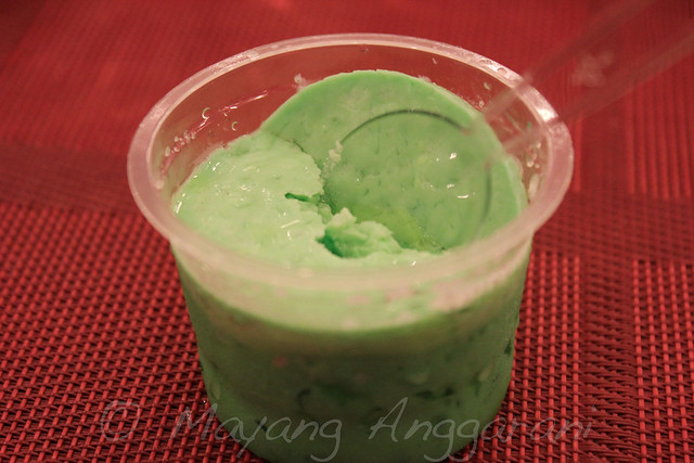 "Ethnic dessert ""Sarikaya"" (frozen coconut milk custard with green coloring)"