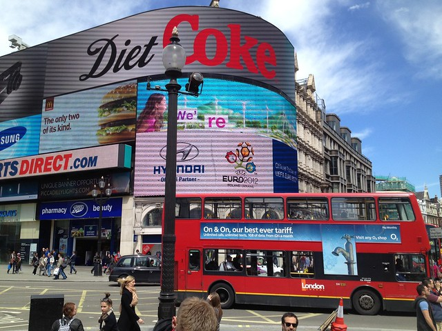 Video and neon displays of Picadilly Circus
