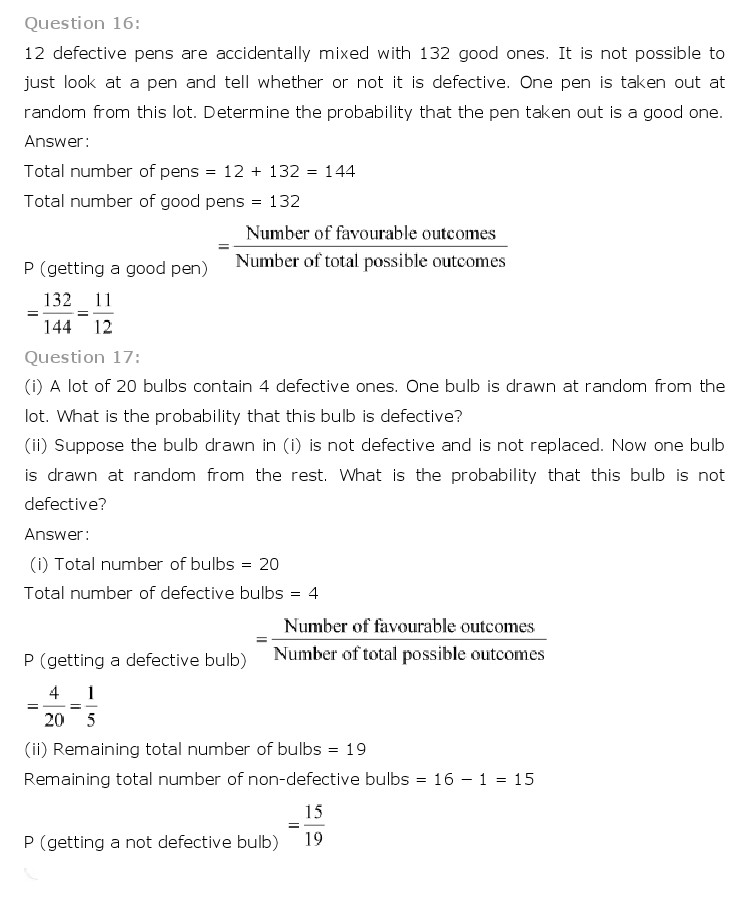 freehomedelivery.net NCERT Solutions For Class 10th Maths Chapter 15 Probability PDF Download 2018-19
