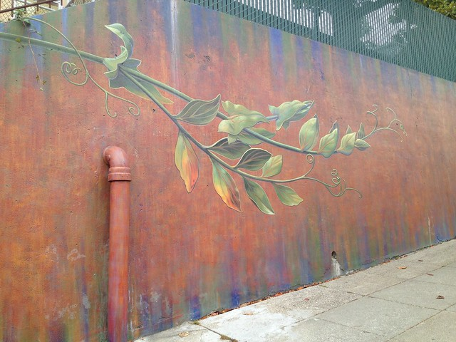 Colorful botanical-themed mural, Church Street