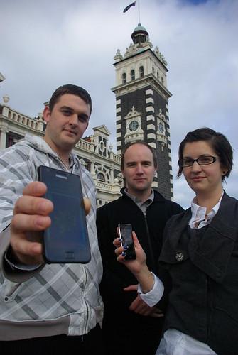 Tikitours group: Cameron Chadwick, Shaun Denholm, Amy Chadwick