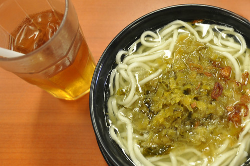 Kiamchay (Pickles Mustard Leaves) Noodles and Wintermelon Juice