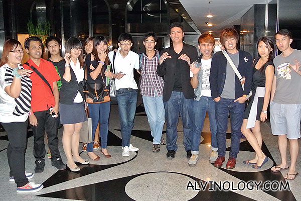 Movie director, Cheng Ding An (in black jacket and both hands raised) together with a group of bloggers