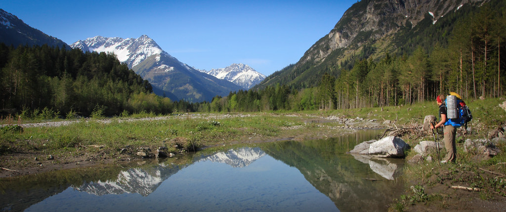 Scouting for a packraft put-in along the Lech River