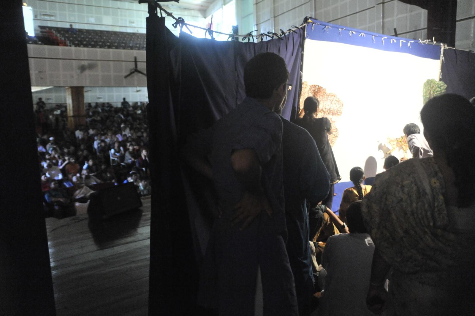Shri Bellagallu Veerana (Leather Puppetry)'s students behind the stage