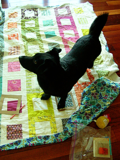 Simon's helping with the quilting