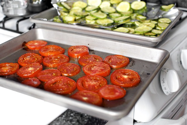 lightly roasted tomatoes and zucchini