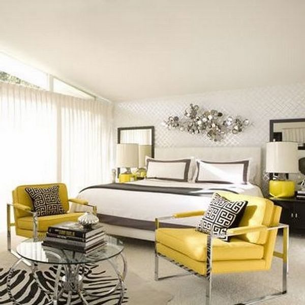 Black white and yellow room decor. dining room contemporary white ...