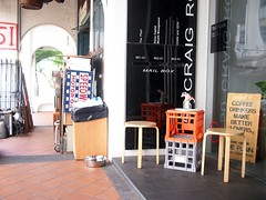 Crates outside The Plain cafe, 50 Craig Road, Tanjong Pagar