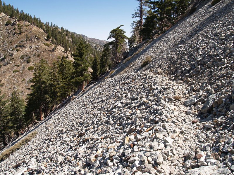 Scree crossing on the Cucamonga Peak Trail