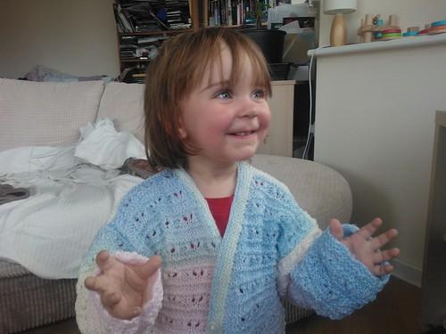 Mersina in her new cardigan