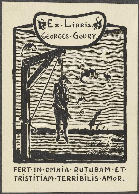 b & w xilogravura bookplate dominada pela figura do homem enforcado + voando morcegos