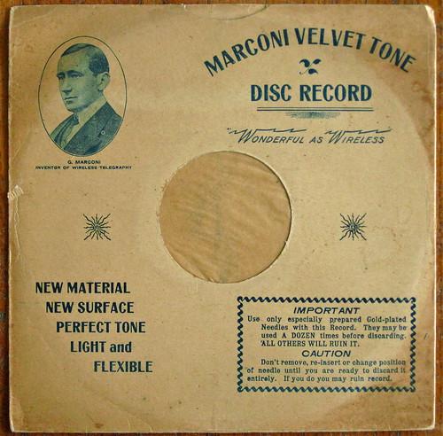 """Marconi """"Velvet Tone"""" Phonograph Record Sleeve - 1907"""