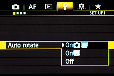 canon 5D mark III mk 3 auto rotate image view lcd