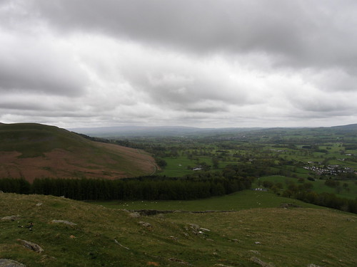 Looking down to Barbon and the Lune valley. Forest of Bowland on the far horizon
