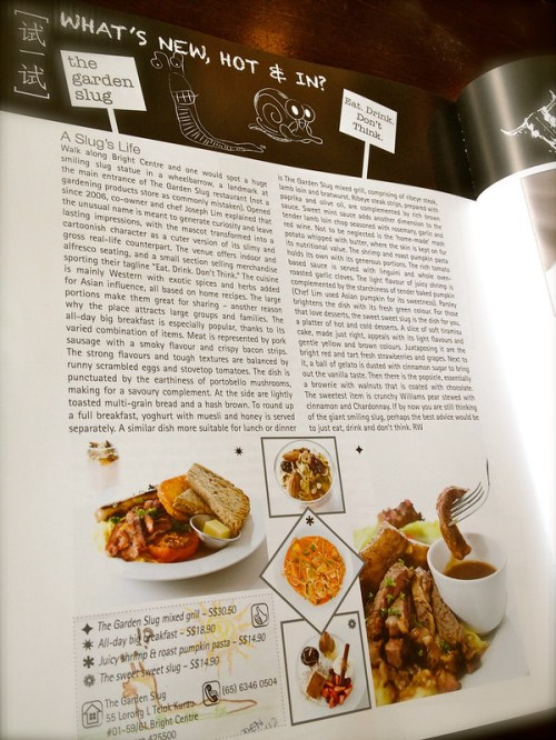 The Garden Slug featured in Cuisine & Wine Asia, May-June 2012 issue