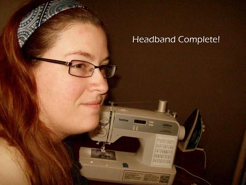 completed blue headband