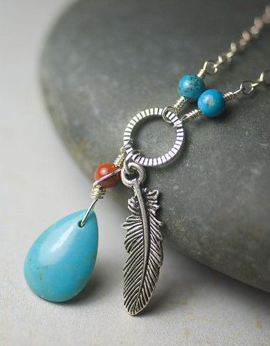"""Azure Wind"" - Turquoise, Sterling Silver, Red Jasper, Southwestern, Necklace - Robin's Egg Blue 'AA' Turquoise Briolette, Red River Jasper by Moss & Mist Jewelry"