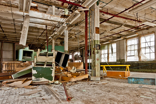 Oh, what a feeling! When furniture is falling through the ceiling. Abandoned Barber-Colman factory in Rockford, Illinois