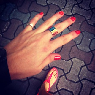 Color matching nails and sandals.