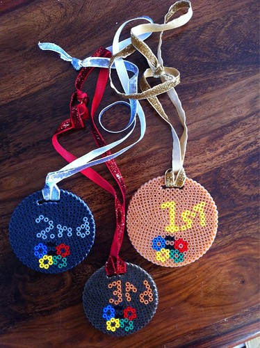 Hama Bead Gold, Silver & Bronze medals.