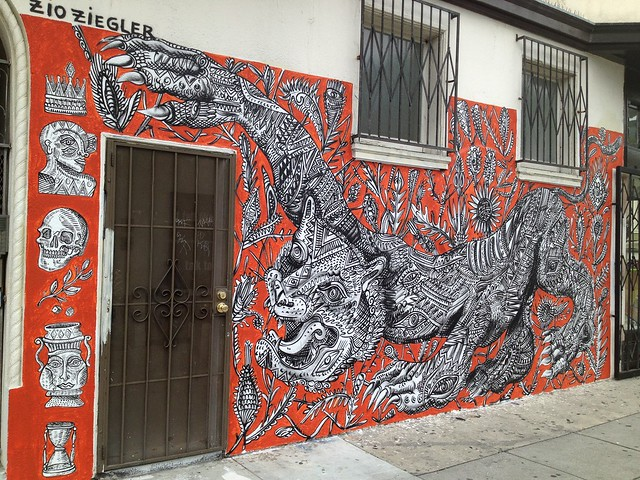 Red, black and white panther mural by Zio Ziegler