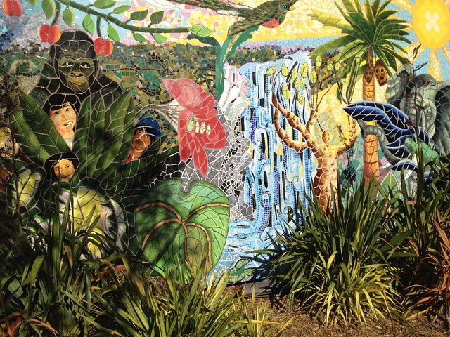Jungle mosaic mural, 24th and York Street Mini Park