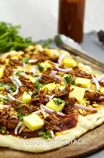 This BBQ Gardein Pineapple Pizza stars an easy-to-make homemade BBQ sauce, and is grilled for the perfect summer pie!