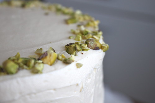 Aunt Sassy Cake (Pistachio Cake with Honey Vanilla Buttercream)