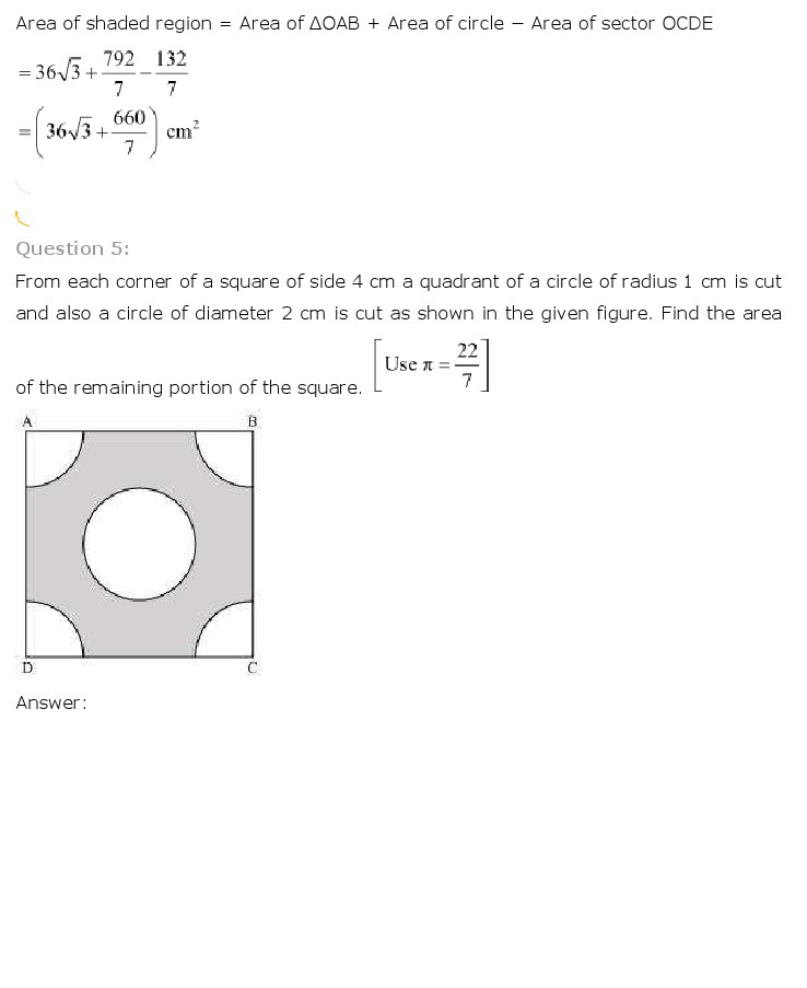 NCERT Solutions For Class 10th Maths Chapter 12 Areas related to Circles PDF Download 2018-19 FREEHOMEDELIVERY.NET