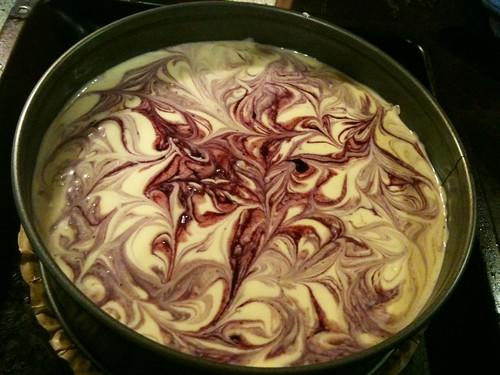 Blueberry swirl cheesecake (trước khi nướng)