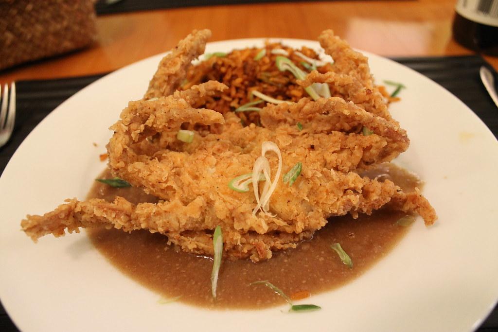 Cangrejo de caparazón blando con arroz manchado