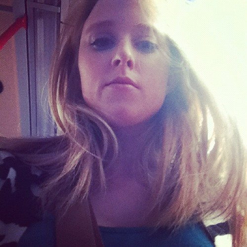 Day 12: from a low angle. On the bus to dressmaking. Haven't straightened my hair in ages!