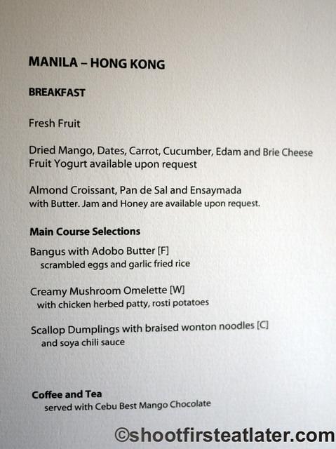 Philippine Airlines Meals- breakfast menu